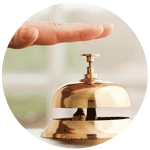 a hand ringing service bell